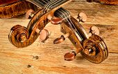 stock photo of viola  - Necks of a violin and a viola on a wodden background - JPG