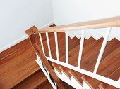 stock photo of staircases  - wooden staircase in a white modern house - JPG