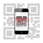 stock photo of qr-code  - Mobile Smart Phone with QR Code Isolated on White Background - JPG