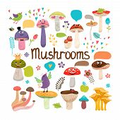 stock photo of edible mushroom  - Cute cartoon mushrooms with faces and speech bubbles with birds and insects  colored vector design on white - JPG