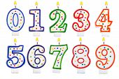 stock photo of number 7  - Birthday candles number set isolated on white background - JPG