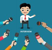 picture of conduction  - Media conducting a press interview with a businessman answering questions or giving a presentation to a row of hands holding microphones  vector illustration - JPG