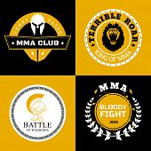 stock photo of battle  - Cool Mixed Martial Arts Battle Logos or Badges Designs on Black and Yellow Background - JPG
