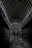stock photo of ellora  - Amazing view of the inside of Ellora caves in the Indian Maharashtra - JPG