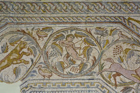 picture of centaur  - Roman polychrome mosaic of Century VI AC With the representation of a winged Vistoria a chariot crowned the team of horses an erotic arch centaur attacked by a dog a panther child figure krater tree of life  - JPG