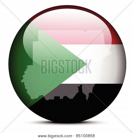 Map On Flag Button Of Republic  The Sudan