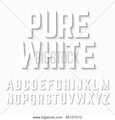 Pure White alphabet shadow. Vector.