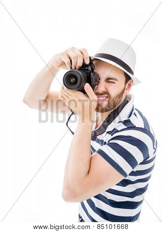Tourist taking pictures on white background