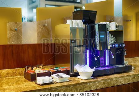 DUBAI, UAE - APRIL 07, 2013: airport interior. Dubai International Airport is a major international airport located in Dubai, and is the world's busiest airport by international passenger traffic.