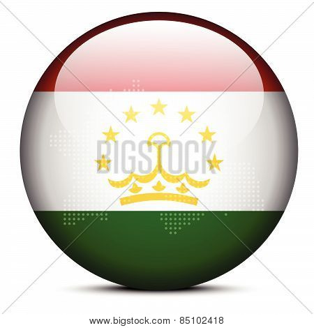 Map With Dot Pattern On Flag Button Of Republic Tajikistan