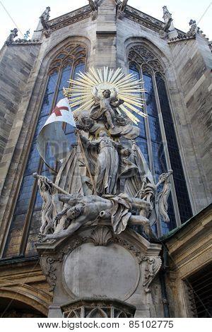 VIENNA, AUSTRIA - OCTOBER 10: Saint John of Capistrano. Sculpture of on the cathedral in Vienna, Austria on October 10, 2014.
