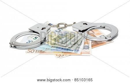 Euro banknotes and handcuffs isolated on white.