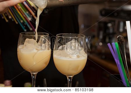 alcohol drinks on bar. cocktail