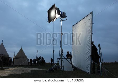 MILOVICE, CZECH REPUBLIC - OCTOBER 23, 2013: Filming of the new movie The Knights directed by Carsten Gutschmidt near Milovice, Czech Republic.
