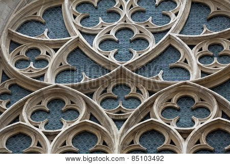 VIENNA, AUSTRIA - OCTOBER 11: Rose window of Minoriten kirche in Vienna, Austria on October 11, 2014.