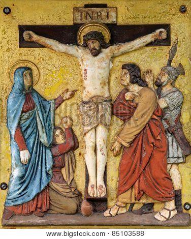 HOHENBERG, GERMANY - MAY 06: Jesus dies on the cross, 12th Stations of the Cross in Hohenberg, Germany on May 06, 2014.