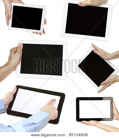 Collage of hands holding tablet PC isolated on white
