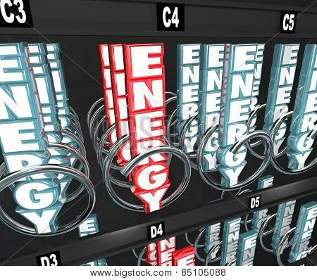 Energy word in 3d letters in a snack or vending machine to illustrate nutritional foods on the go such as power or protein bars