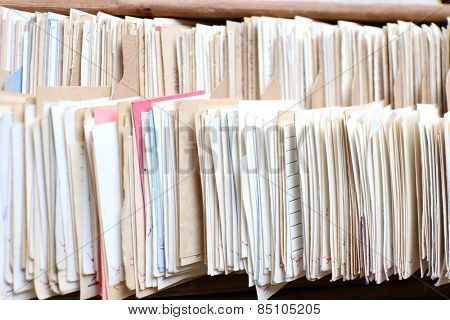 Catalog cards in library, closeup