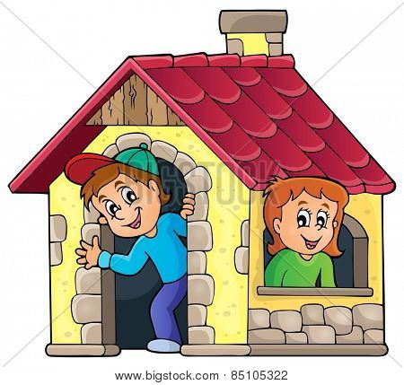 Children playing in small house theme 1 - eps10 vector illustration.