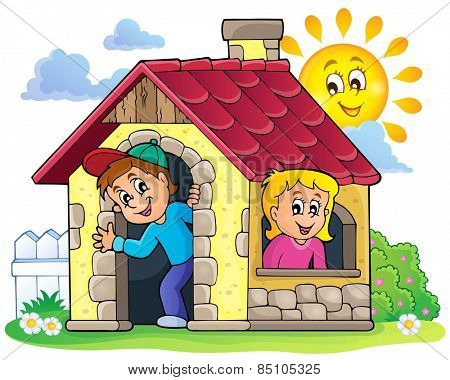 Children playing in small house theme 3 - eps10 vector illustration.