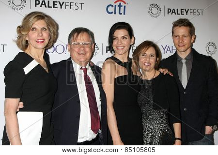 LOS ANGELES - MAR 7:  Christine Baranski, Robert King, Julianna Margulies, Michelle King, Matt Czuchry at the PaleyFEST LA -