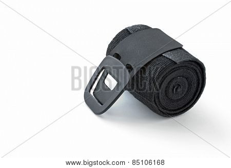 Rolled Black Elastic Bandage with Clip Fastener