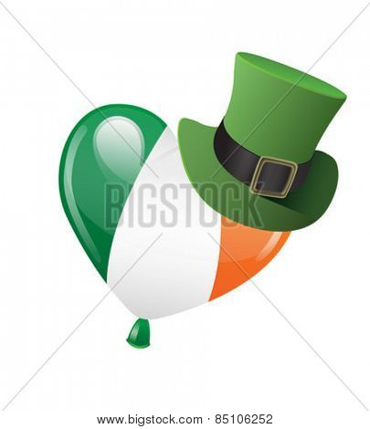 Digitally generated Irish flag balloon wearing a top hat