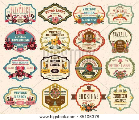 vintage labels with flower 2