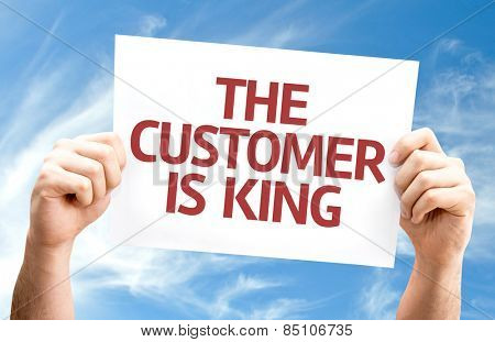 The Customer is King card with sky background