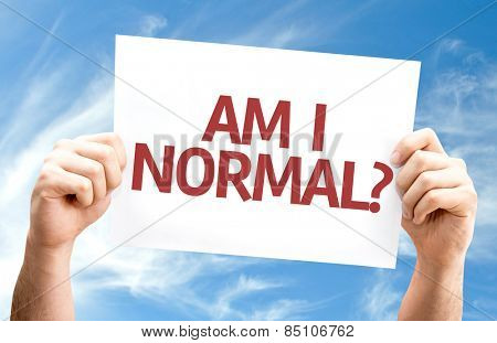 Am I Normal? card with sky background