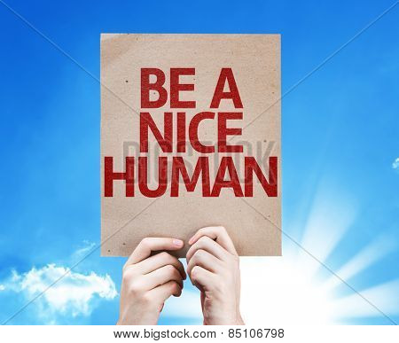 Be a Nice Human card with sky background