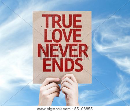 True Love Never Ends card with sky background