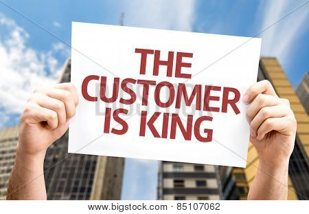 The Customer is King card with a urban background