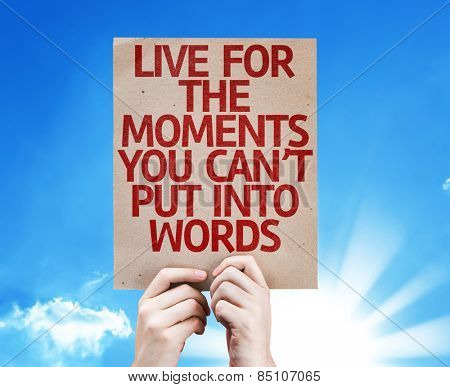 Live for the Moments You Can't Put Into Words card with sky background