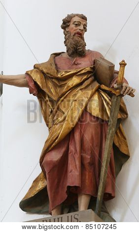 ELLWANGEN, GERMANY - MAY 07: Saint Paul the Apostle, Basilica of St. Vitus in Ellwangen, Germany on May 07, 2014.
