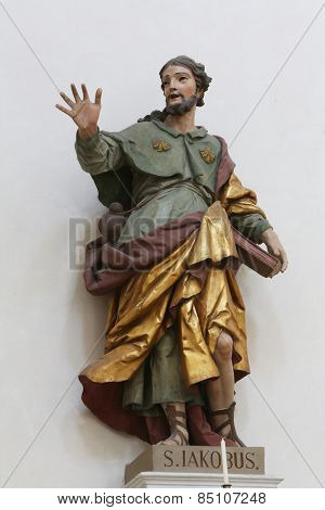 ELLWANGEN, GERMANY - MAY 07: Saint James the Apostle, Basilica of St. Vitus in Ellwangen, Germany on May 07, 2014.