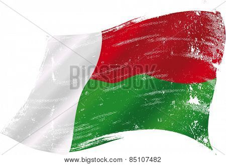 Malagasy grunge flag. Flag of Madagascar in the wind with a texture