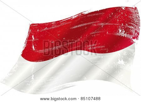 Indonesian grunge waving flag. A grunge flag of Indonesia in the wind for you