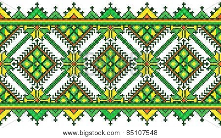 green embroidered good like handmade cross-stitch ethnic Ukraine pattern. spring color for St Patricks day