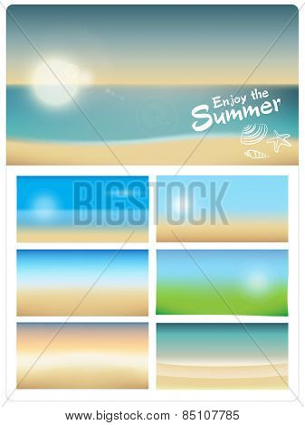 BLURRED SUMMER BACKGROUNDS COLLECTION. For website, blog or print design. Editable vector illustration file.
