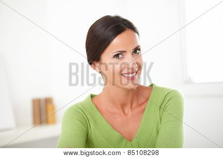 Smart Brunette Female Looking Sincerely Satisfied