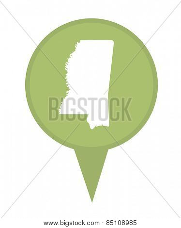 American state of Mississippi marker pin isolated on a white background.