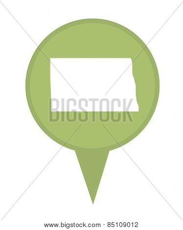 American state of North Dakota marker pin isolated on a white background.