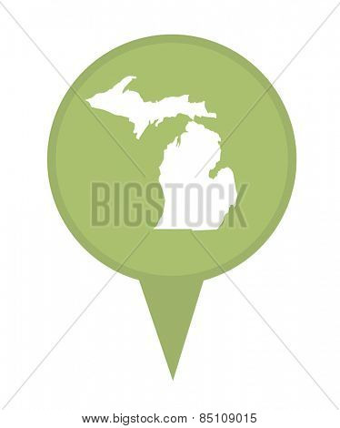 American state of Michigan marker pin isolated on a white background.