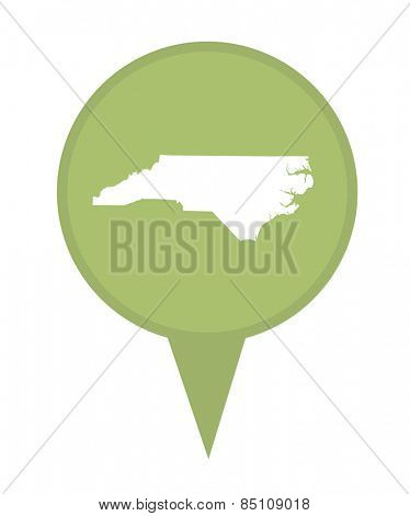 American state of North Carolina marker pin isolated on a white background.