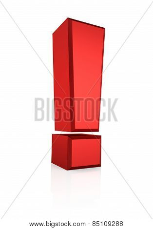 3D Red Exclamation Sign
