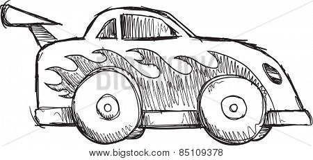 Doodle Sketch Race Car Vector Illustration Art