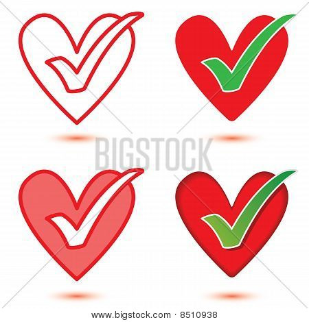 Vector Heart & Tick Icon Set