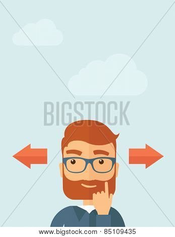 The man with a beard thinking of choice. Decision concept. Vector flat design illustration.  Vertical layout with a text space in a top.